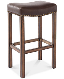 "Tudor 26"" Counter Height Wood Backless Barstool in Chestnut Finish and Kahlua Faux Leather"