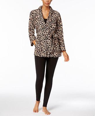 Miss Elaine Leopard-Print Belted Bed Jacket