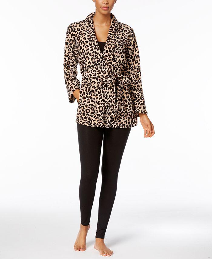 Miss Elaine - Leopard-Print Belted Bed Jacket