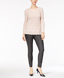 Cable & Gauge Pointelle-Knit Sweater & ECI Straight-Leg Pants