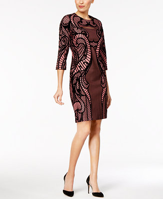 Eci Lace Print Flocked Sheath Dress Dresses Women Macy S