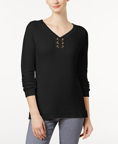 Charter Club Ribbed Grommet Sweater, Created for Macy's