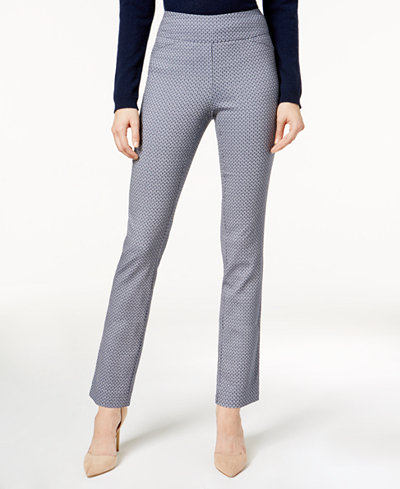 Charter Club Petite Printed Cambridge Pull-On Pants, Created for Macy's
