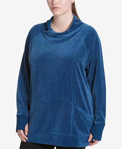 Calvin Klein Performance Plus Size Velour Cowl-Neck Sweatshirt