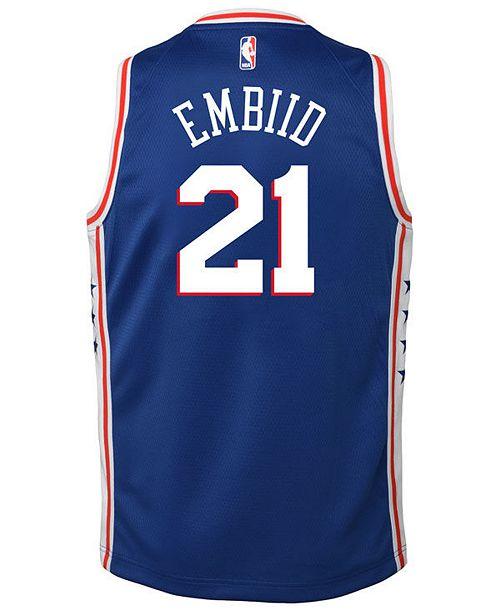 low priced 8e1b2 dc115 Joel Embiid Philadelphia 76ers Icon Swingman Jersey, Big Boys (8-20)