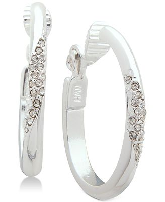 Anne Klein Silver Tone Pave Clip On Hoop Earrings Jewelry