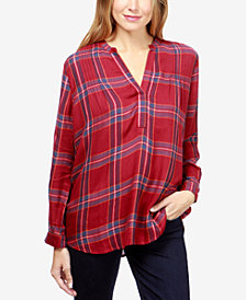 Lucky Brand Plaid Pintuck-Pleat Shirt
