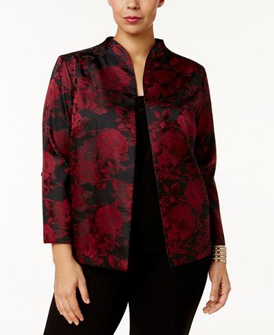 Alex Evenings Plus Size Floral-Print Jacket & Shell