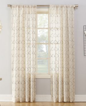 "Lichtenberg No. 918 Lima Embroidered Scallop 50"" x 95"" Sheer Rod-Pocket Curtain Panel 5332092"