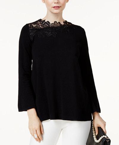 Alfani Petite Asymmetrical Lace-Neck Sweater, Created for Macy's