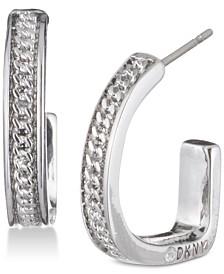 "DKNY Chain Textured 3/4"" Hoop Earrings, Created for Macy's"
