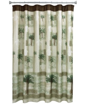 "Citrus 70"" x 72"" Palm-Print Shower Curtain"