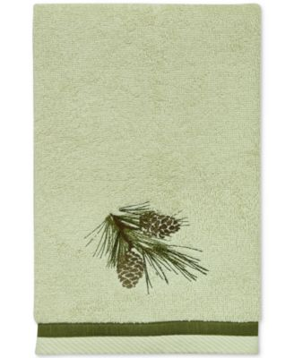 Pinecone Silhouettes Cotton Embroidered Hand Towel