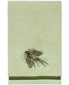 Bacova Pinecone Silhouettes Cotton Embroidered Hand Towel