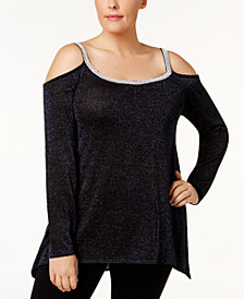 Belldini Plus Size Metallic-Knit Cold-Shoulder Tunic