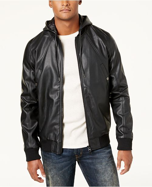 Lrg Mens Faux Leather Hooded Bomber Jacket Reviews