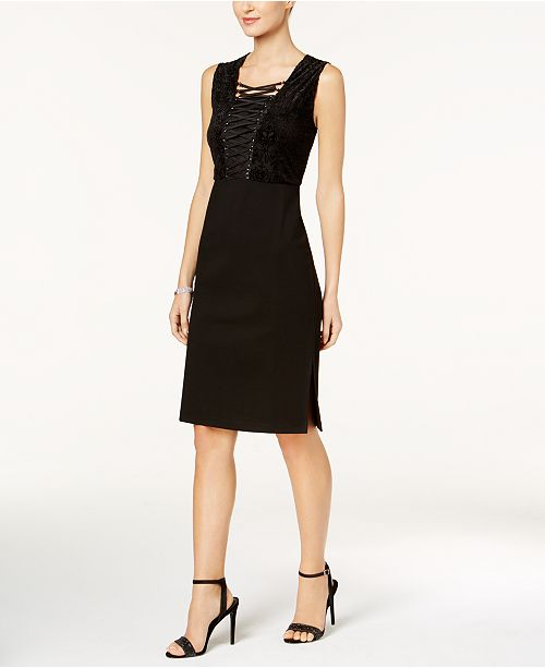 Love Scarlett Petite Corset-Laced Velvet Bodycon Dress, Created for Macy's