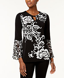 JM Collection Printed Chiffon-Cuff Top, Created for Macy's