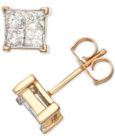 Diamond Quad Cluster Stud Earrings (1/2 ct. t.w.) in 14k Gold