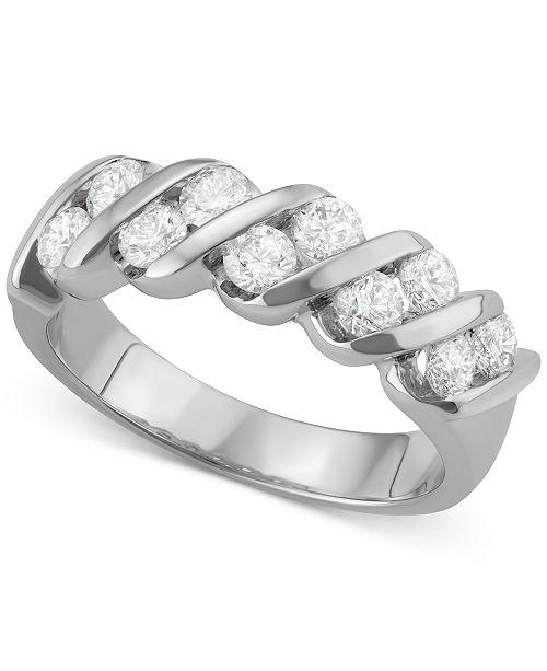 Macy's Diamond Diagonal Band (1 ct. t.w.) in 18k White Gold