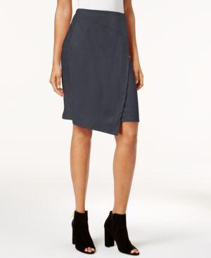 kensie Asymmetrical Faux-Suede Skirt thumbnail
