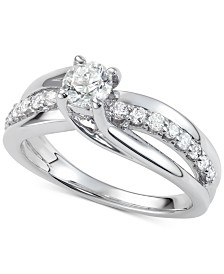 Diamond Elevated Twist Engagement Ring (7/8 ct. t.w.) in 14k White Gold