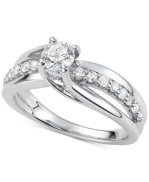 Macy's Diamond Elevated Twist Engagement Ring (7/8 ct. t.w.) in 14k White Gold