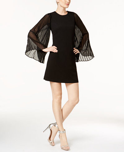 Calvin Klein Pleated Bell-Sleeve Mini Dress
