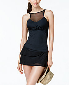 Coco Reef Bra-Sized Underwire High-Neck Illusion Tankini Top & Swim Skirt