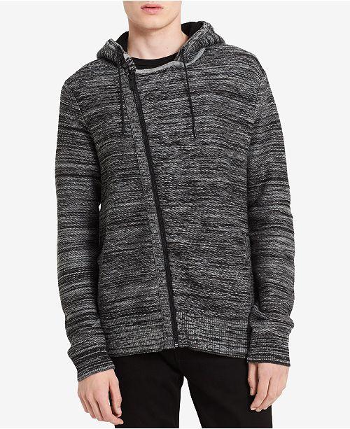 Calvin Klein Jeans Men's Asymmetrical Full-Zip Sweater with Fleece-Line Hood