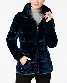 I.N.C. Velvet Puffer Coat, Created for Macy's