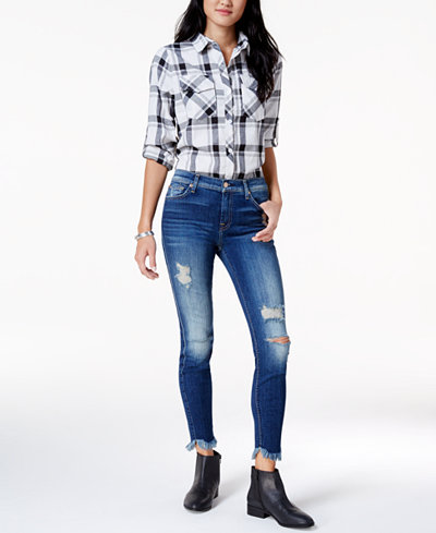 7 For All Mankind Ripped Frayed Ankle Skinny Jeans