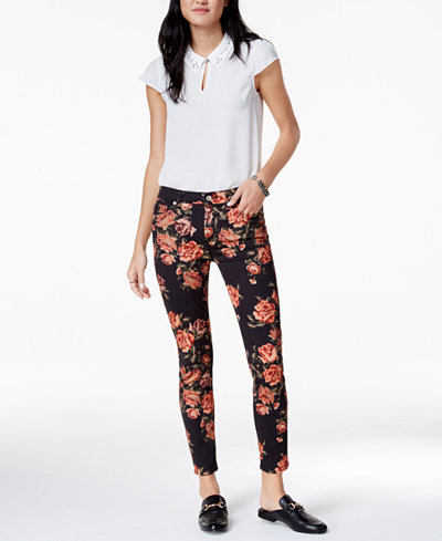 7 For All Mankind Needlepoint-Print Ankle Skinny Jeans