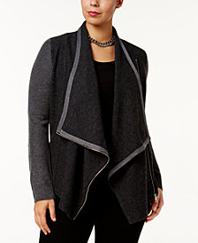 I.N.C. Plus Size Colorblocked  Cardigan, Created for Macy's
