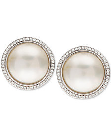 Cultured Mabé Pearl (12mm) & White Topaz (3/8 ct. t.w.) Stud Earrings in Sterling Silver