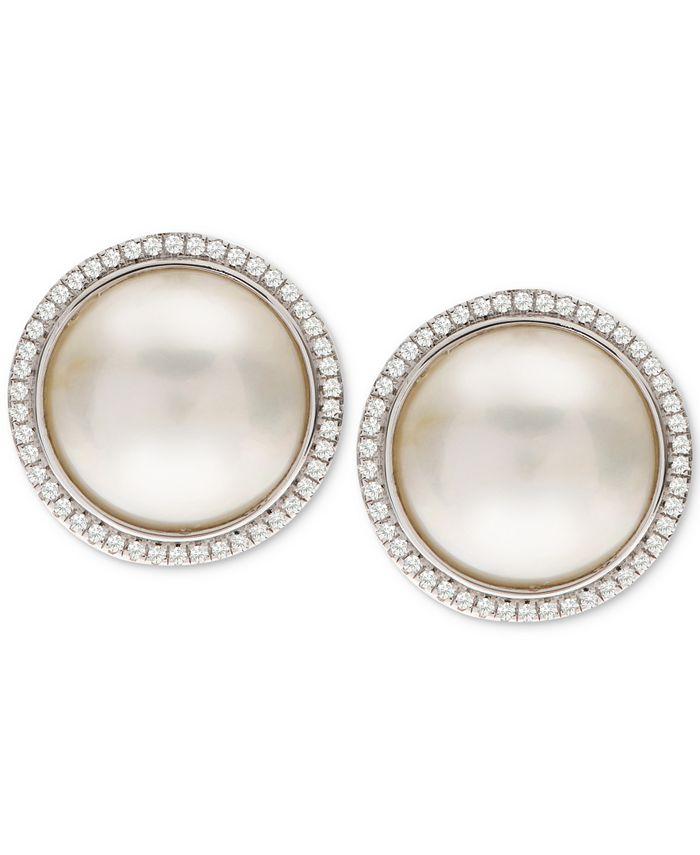 Macy's - Cultured Mabé Pearl (12mm) & White Topaz (3/8 ct. t.w.) Stud Earrings in Sterling Silver