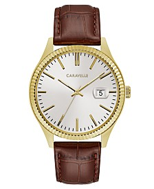 Caravelle Designed by Bulova  Men's Brown Leather Strap Watch 41mm