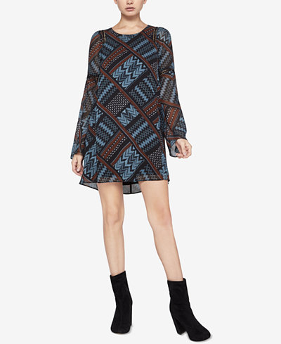 BCBGeneration Printed Bell-Sleeve Dress
