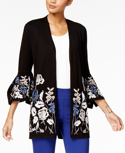 Alfani Embroidered Bell-Sleeve Cardigan, Created for Macy's