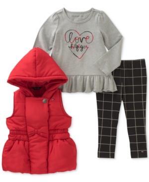 Tommy Hilfiger 3Pc Hooded Vest LongSleeve TShirt  Leggings Set Little Girls (46X)