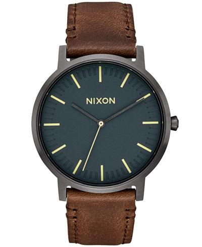 nixon mens porter leather strap watch 40mm a1058