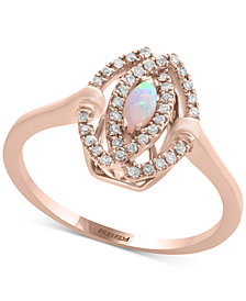 Final Call by EFFY® Opal (1/8 ct. t.w.) & Diamond (1/5 ct. t.w.) Ring in 14k Rose Gold