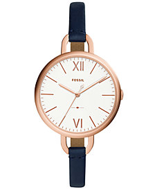 Fossil Women's Annette Navy Leather Strap Watch 36mm