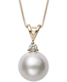 Belle de Mer Cultured Freshwater Pearl (11mm) & Diamond (1/10 ct. t.w.) Pendant Necklace in 14k Gold, Created for Macy's