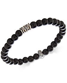 Men's Onyx Stretch Bracelet in Sterling Silver, (Also in Stabilized Turquoise)