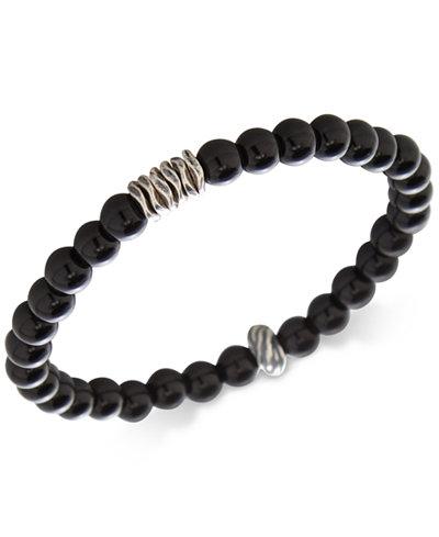 DEGS & SAL Men's Onyx Stretch Bracelet in Sterling Silver, (Also in Stabilized Turquoise)