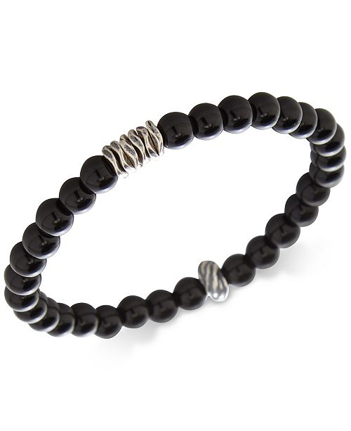 DEGS & SAL Men's Onyx Stretch Bracelet in Sterling Silver, (Also in Stabilized Turquoise)