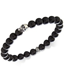 Men's Manufactured Turquoise Skull Bracelet in Sterling Silver (Also in Tiger's Eye, Lava Rock & Onyx)