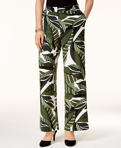 Alfani Petite Printed Elastic-Waist Pants, Created for Macy's
