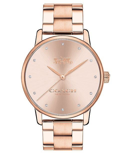new arrival 65be2 76212 ... COACH Women s Grand Rose Gold-Tone Stainless Steel Watch ...